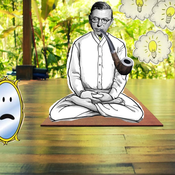 Sartre_op_'t_matje_I_am_seen_therefore_I_am_Yogafilosofie_Jean_Paul_Sartre